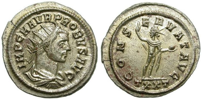Ancient Coins - PROBUS. AG ANTONINIAN. TICINUM MINT. RIC VARIANT. MOST SILVERING REMAINING. CHOICE !