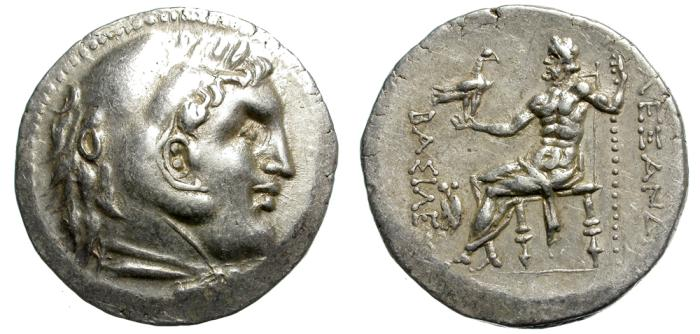 Ancient Coins - ALEXANDER III. SILVER TETRADRACHM.  ATTRACTIVE AND RARE PIECE.