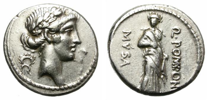 Ancient Coins - ROMAN REPUBLIC. Q. POMPONIUS MUSA. DENARIUS. SCARCE AND NICE. POLYHYMNIA