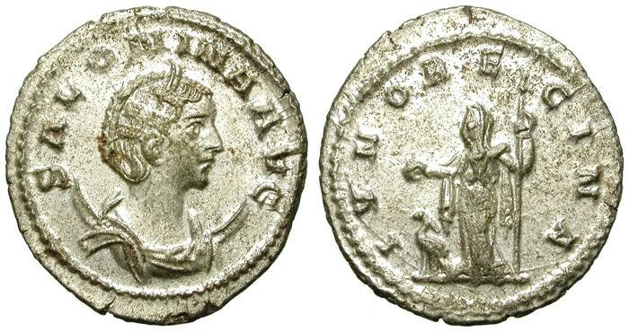 Ancient Coins - SALONINA. AE ANTONINIAN. MOST SILVER REMAINING. GREAT CONDITION