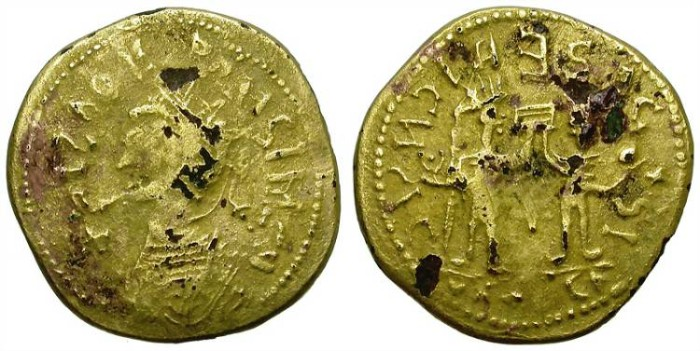 """Ancient Coins - BARBARIC IMITATIVE GOLD PLATED """"AUREUS"""". PROBUS PERIOD OR ALIKE. WEIRD ISSUE !"""