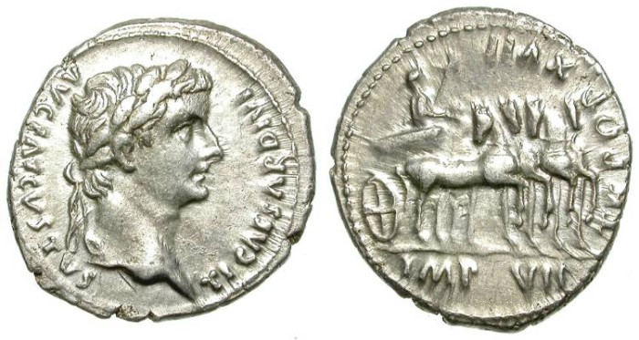 Ancient Coins - TIBERIUS. DENARIUS. QUADRIGA ON REVERSE. NICE