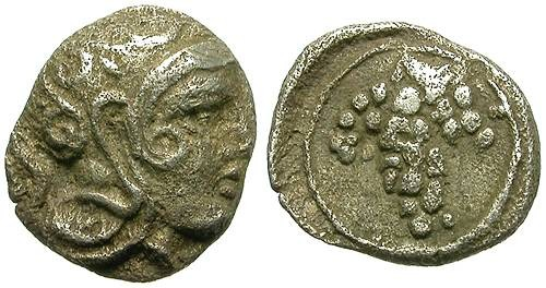 Ancient Coins - SOLOI, CILICIA. TINY SILVER FRACTION. ATTRACTIVE WINE RELATED ISSUE
