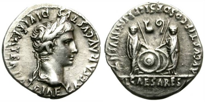 Ancient Coins - AUGUSTUS. SILVER DENARIUS. VERY ATTRACTIVE PORTRAIT. NICE TONING.