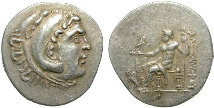 Ancient Coins - ALEXANDER THE GREAT. SILVER TETRADRACHM. RARE PERGA YEAR 20. BEAUTIFUL !!
