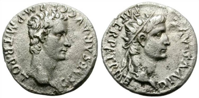 Ancient Coins - CALIGULA WITH DIVUS AUGUSTUS. AD 37-41. SILVER DENARIUS. RARE AND ATTRACTIVE.