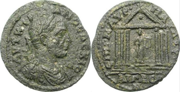 Ancient Coins - RARE PROVINCIAL AE. AEGAE, AIOLIS. TRAIAN DECIUS. APOLLO TEMPLE