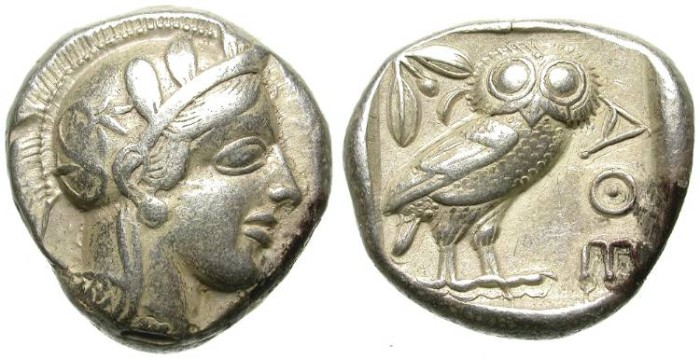Ancient Coins - ATTICA. ATHENS. CLASSICAL SILVER TETRADRACHM. FULL CREST. NICE!