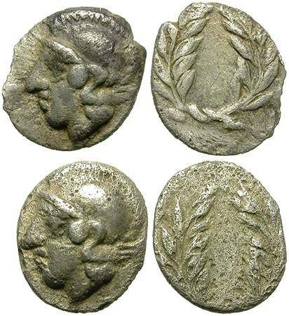 Ancient Coins - LOT OF 2 SILVER HEMI-OBOLS. ELAIA in AIOLIS. RARE TYPES. NICE MINIATURES !