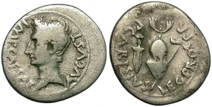 Ancient Coins - AUGUSTUS.  SILVER  DENARIUS.  27 BC - 14 AD.  RARE.  NICE  BUST.