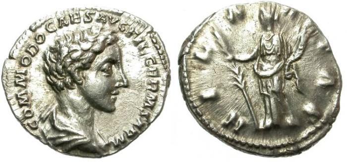 Ancient Coins - COMMODUS (172-192 A.D) AR. DENARIUS. ROME MINT. BEAUTIFUL YOUNG BUST.