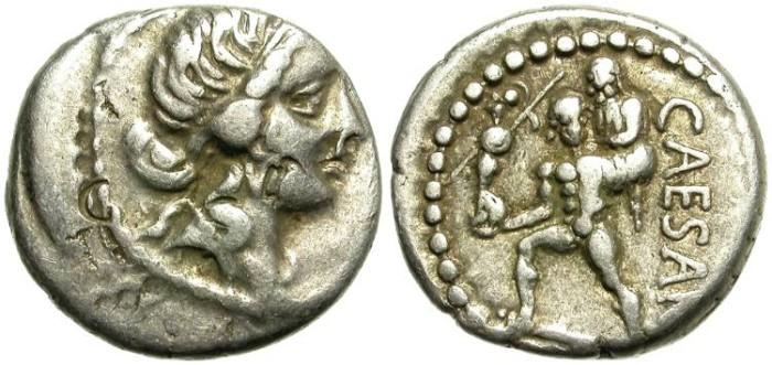 Ancient Coins - JULIUS CAESAR.  SILVER  DENARIUS.  INTERESTING AND NICE  COIN.