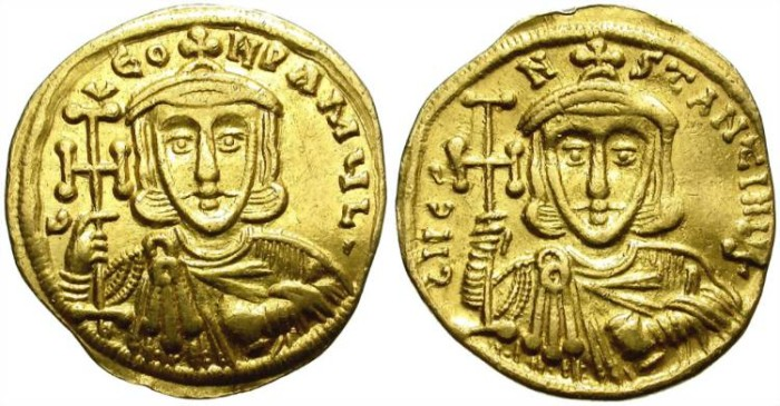 Ancient Coins - LEO III THE ISAURIAN WITH CONSTANTINE V.  SOLIDUS.  ATTRACTIVE PIECE.