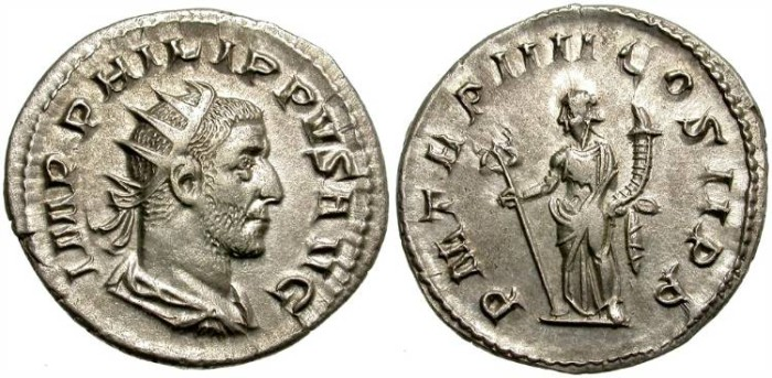 Ancient Coins - PHILIP I. 242-249 A.D.  SILVER ANTONINIANUS. GREAT  SILVER  QUALITY.