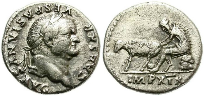 Ancient Coins - VESPASIANUS.  69-70 AD.  AR DENARIUS. RARE.  GOOD OPORTUNITY.