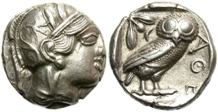 Ancient Coins - ATHENS,  ATTICA. (c. 454-404 B.C)  AR TETRADRACHM.  CLASSICAL STYLE. FANTASTIC  COIN.