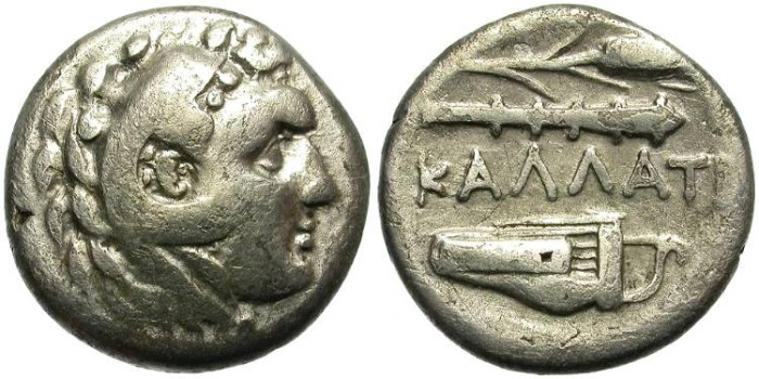 Ancient Coins - KALLATIS, MOESIA. SILVER DRACHM. HERAKLES DEPICTION AND ATTRIBUTES.