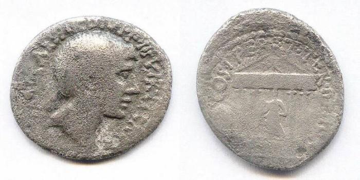 Ancient Coins - Octavius. Denar. Temple. Rare. Fine.