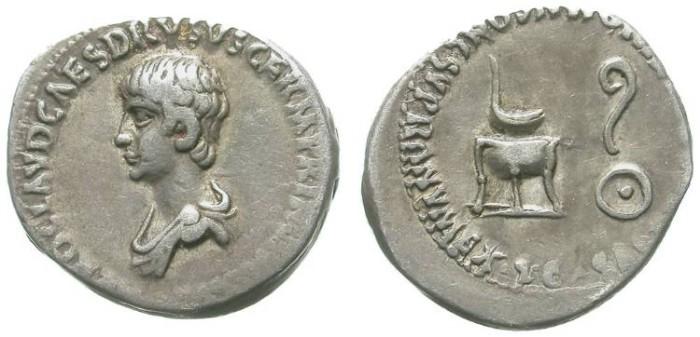 Ancient Coins - NERO. DENAR. AS A CHILD UNDER CLAUDIUS. RARE. ATTRACTIVE
