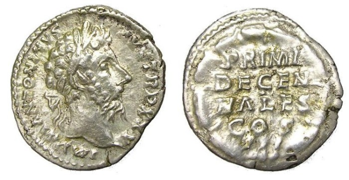 Ancient Coins - MARCUS  AURELIUS, A. D.  161-180.  DENARIUS.  INTERESTING  REVERSE.