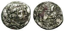Ancient Coins - ROMAN REPUBLIC. SILVER FOUREE DENARIUS. COLONIAL ISSUE. IMITATING TURIASU EMISSIONS