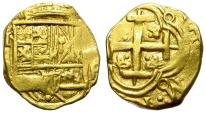World Coins - 2 ESCUDOS. GOLD COB. BOGOTA MINT. (Z)R ASSAYER. CIRCA 1660. NICE STRIKE