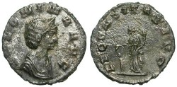 Ancient Coins - SALONINA. AE DENAR. VF. SOME REMAINING SILVERING. SO RARE !