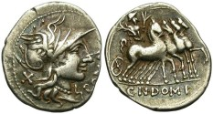 Ancient Coins - ROMAN REPUBLIC. SILVER DENARIUS. DOMITIA-7. ATTRACTIVE TONING