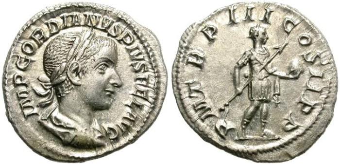 Ancient Coins - GORDIANUS III.  238-244  A.D. AR  DENARIUS. GOOD  SILVER  CONDITION.