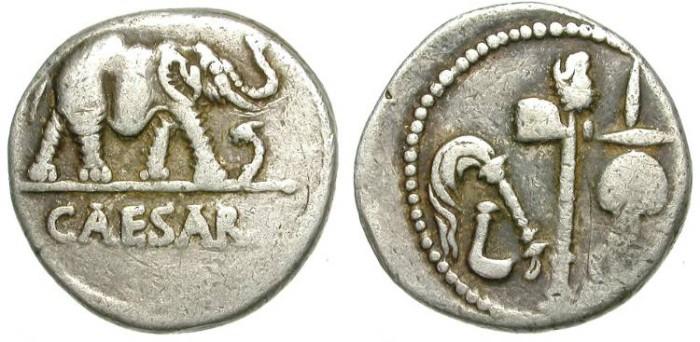 Ancient Coins - IULIUS CAESAR. SILVER DENAR. ELEPHANT SERIES. EMBLEMATIC PIECE /2