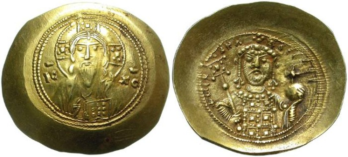 Ancient Coins - BYZANCE. GOLD HISTAMENON NOMISMA. MICHAEL VII DUKAS. NICE DEPICTION OF JESUS CHRIST.