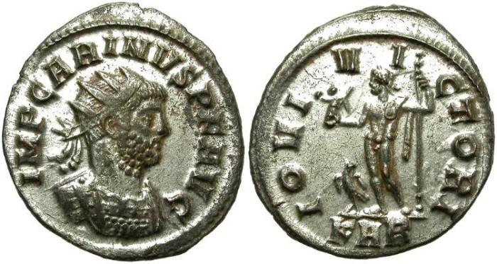 Ancient Coins - CARINUS AS AUGUSTUS. BILLON ANTONINIANUS. MANY SILVERING REMAINING