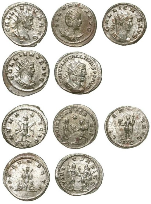 Ancient Coins - LOT OF 5 AE ANTONINIANI FROM GALLIENUS AND SALONINA. GREAT CONDITION. ALMOST FULLY SILVERED !