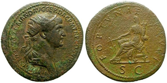 Ancient Coins - TRAJAN. AE DUPONDIUS. ATTRACTIVE PORTRAIT.