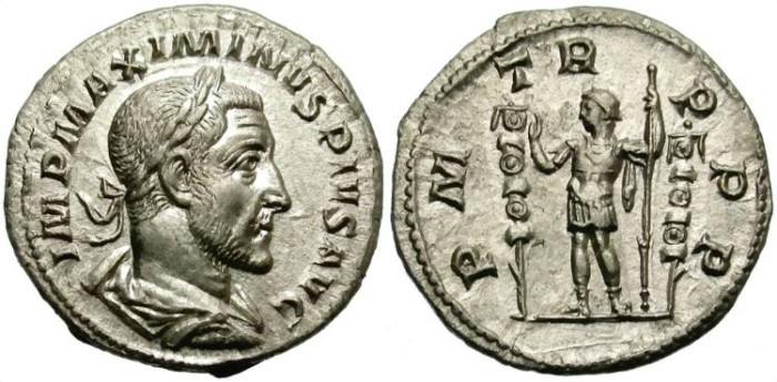 Ancient Coins - MAXIMINUS. SILVER DENARIUS. GOOD AND SEVERE PORTRAITURE