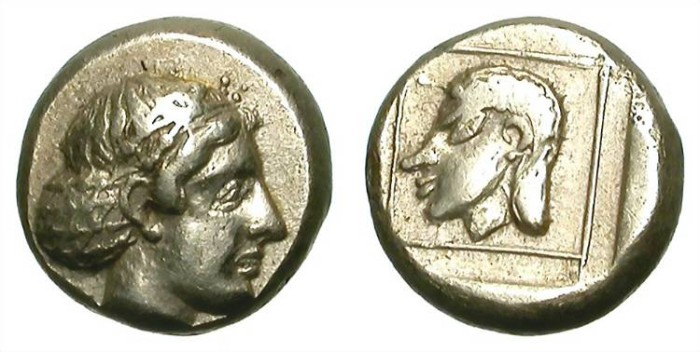 Ancient Coins - HECKTE IN ELECTRUM. MITYLENE in LESBOS. NICE VF. RARE ISSUE. SO ATTRACTIVE !