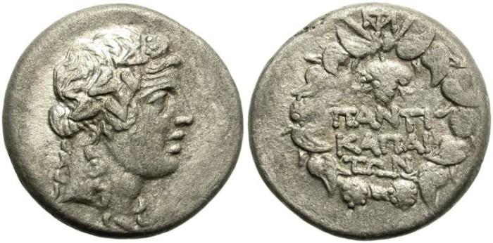 Ancient Coins - PANTIKAPAION.  AR  DIDRACHM.  NICE BUST  OF  DIONYSOS.