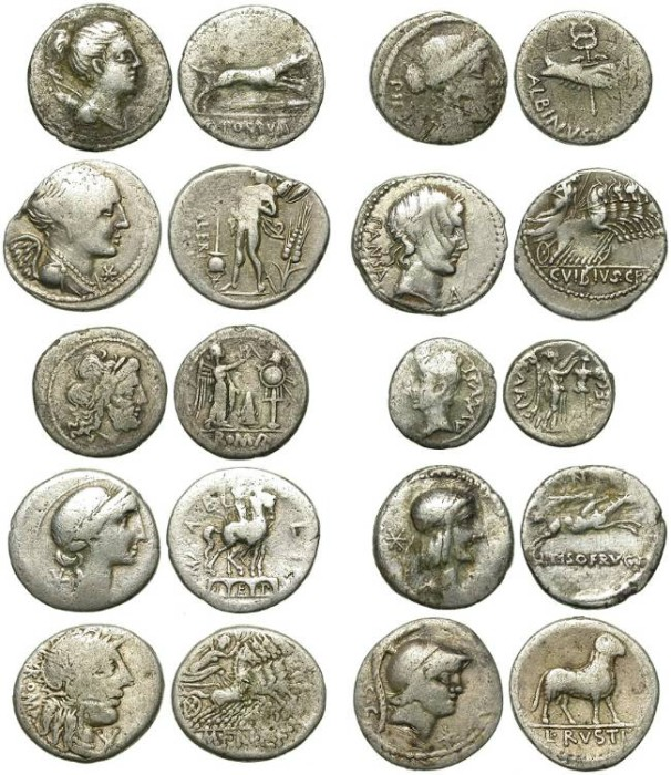 Ancient Coins - ROMAN REPUBLIC. LOT OF 10 NON-EXPENSIVE SILVER DENARIUS, etc.