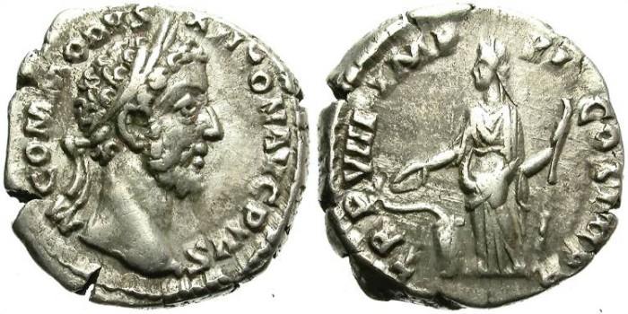 Ancient Coins - COMMODUS. SILVER DENARIUS. ATTRACTIVE PORTRAIT. UNUSUAL HEAVY WEIGHT