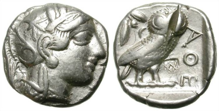 Ancient Coins - ATTICA. ATHENS TETRADRACHM. TEST CUT AND COUNTERMARK BUT SO NICE !