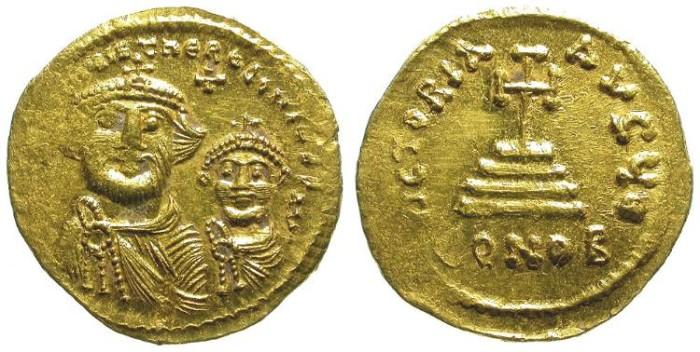 Ancient Coins - HERACLIUS W/ HERACLIUS CONSTANTINE. GOLD SOLIDI. NICE ISSUE. /2