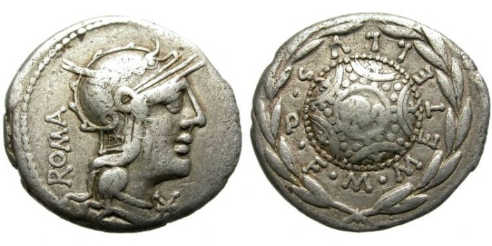 Ancient Coins - ROMAN REPUBLIC. CAECILIA - 29. SILVER DENARIUS. 127 BC.  ATTRACTIVE.