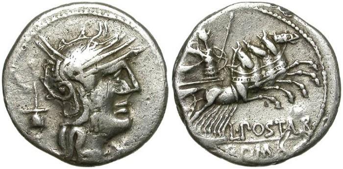 Ancient Coins - ROMAN REPUBLIC. SILVER DENARIUS. POSTUMIA 1