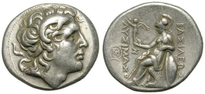 Ancient Coins - LYSIMACHOS. TETRADRACHM. PELLA MINT. GOOD PORTRAIT