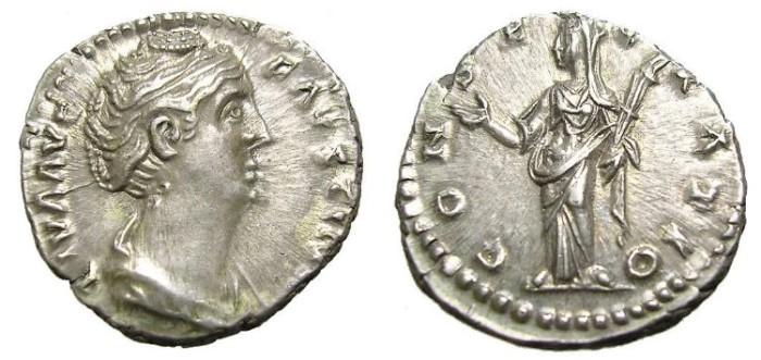 Ancient Coins - FAUSTINA  DENARIUS.  GREAT  QUALITY.