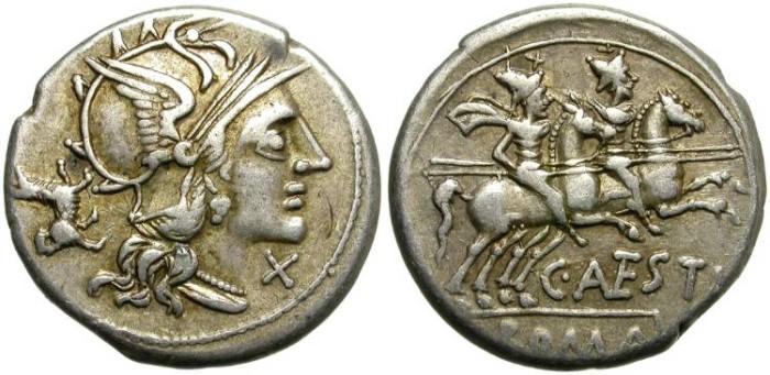 Ancient Coins - ROMAN REPUBLIC. SILVER DENARIUS. ANTESTIA 2. NICE COIN. DELIGHTFUL PUPPIE.