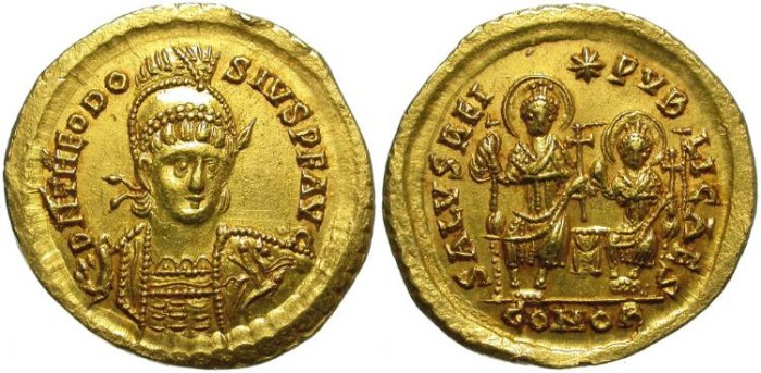 Ancient Coins - THEODOSIUS II. GOLD SOLIDUS. SCARCE REVERSE WITH VALENTINIAN III. SO BEAUTIFUL ! AN ALMOST PERFECT ISSUE