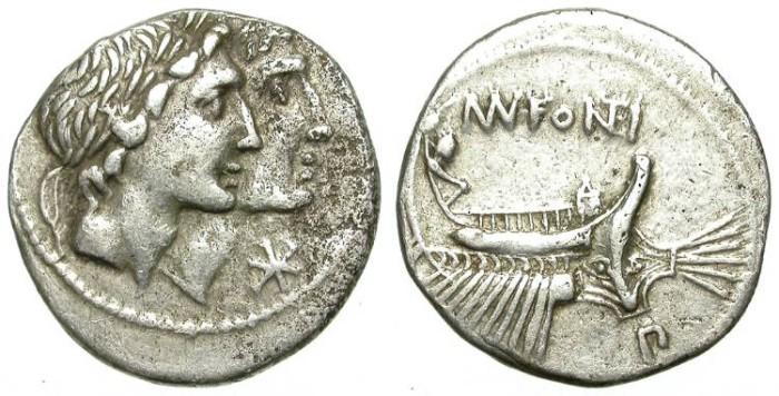 Ancient Coins - ROMAN REPUBLIC. SILVER DENARIUS. FONTEIA 7