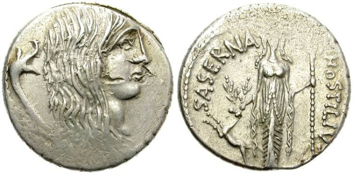 Ancient Coins - ROMAN REPUBLIC. HOSTILIA SASERNA. SILVER DENARIUS. AREAS OF WEAK STRIKE BUT NICE GALLIA DEPICTION.
