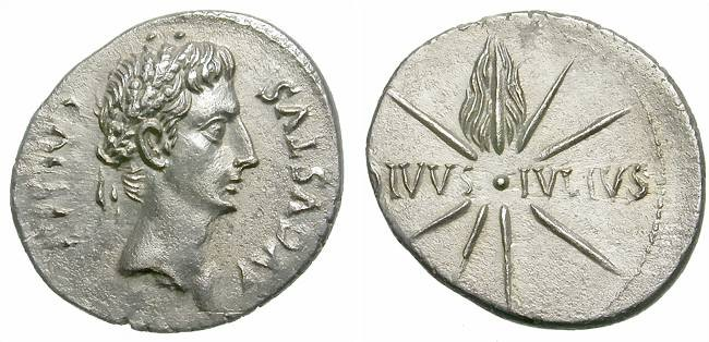 Ancient Coins - AUGUSTUS. DENAR. COMET ON REVERSE. NICE ISSUE